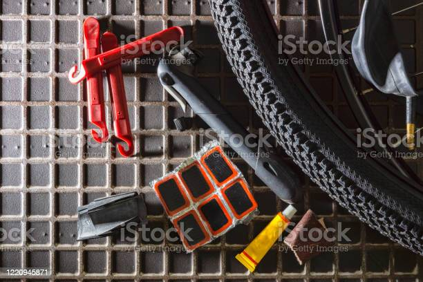 Tools For Repairing Leaky Bicycle Cameras Stock Photo - Download Image Now