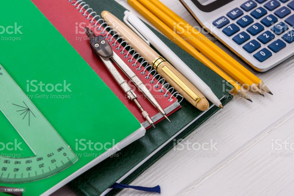 Tools for studying on table close up