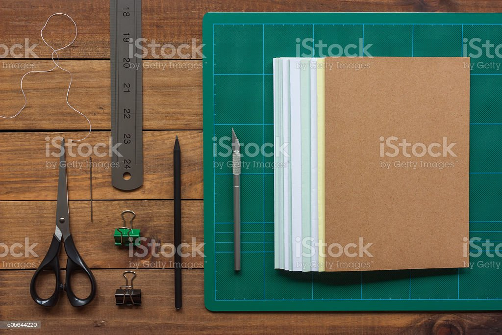 Tools for the craft of hand bookbinding stock photo