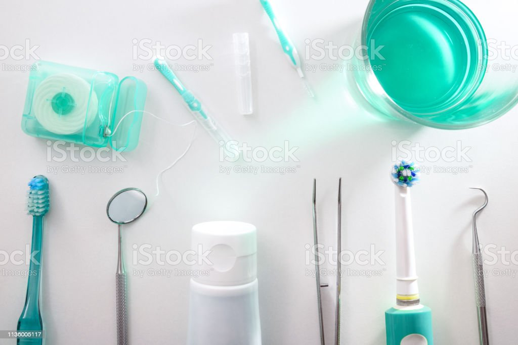 Tools for the maintenance and cleaning of the mouth stock photo