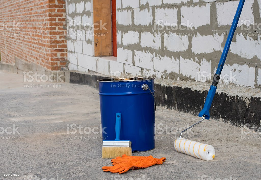 Tools for waterproofing. stock photo