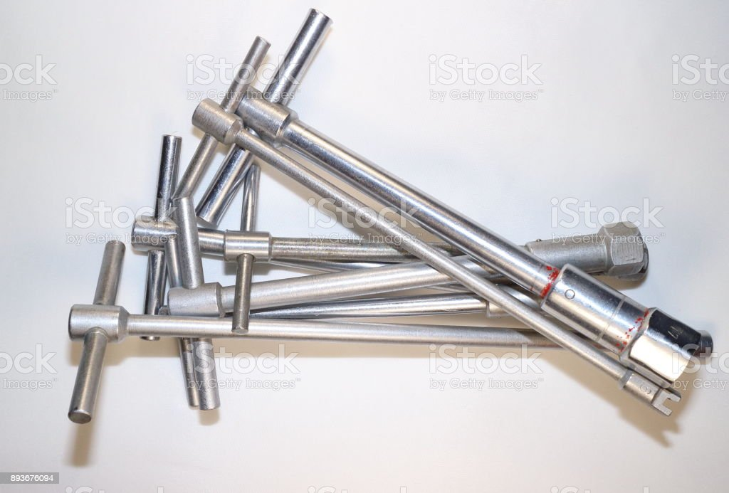 tools for work, socket wrenches on a white background stock photo