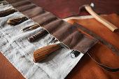 istock Tools In Handmade Leather Case 1208767754