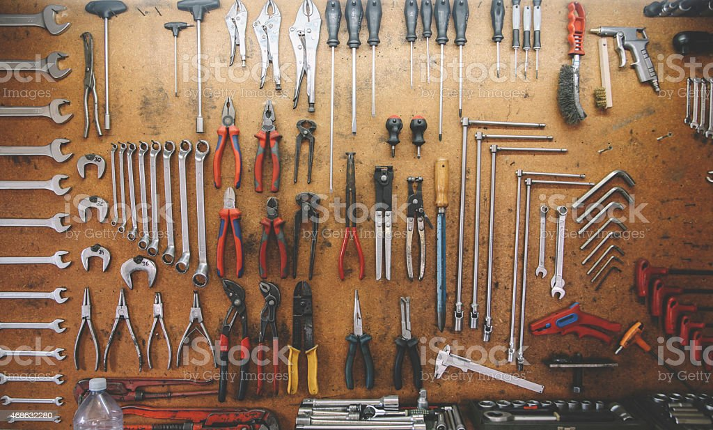 Tools In The Car Garage Workshop Stock Photo Download Image Now