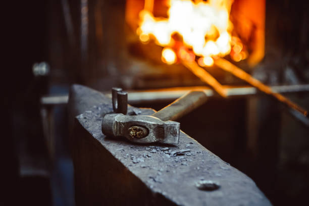 Tools in the forge Hand anvil. hummers all blacksmith tools in forge. anvil stock pictures, royalty-free photos & images