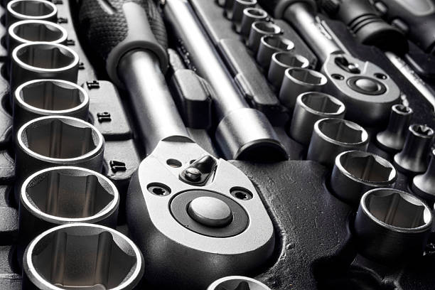 tools kit, selective focus tools kit, selective focus socket wrench stock pictures, royalty-free photos & images