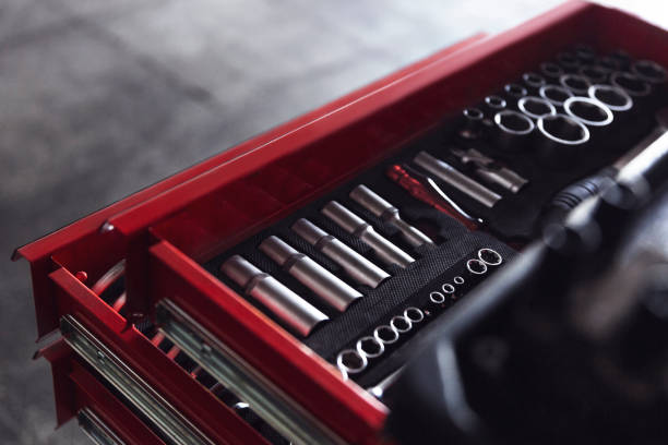 Tools Kit, Socket wrenches in box Tools Kit socket wrench stock pictures, royalty-free photos & images