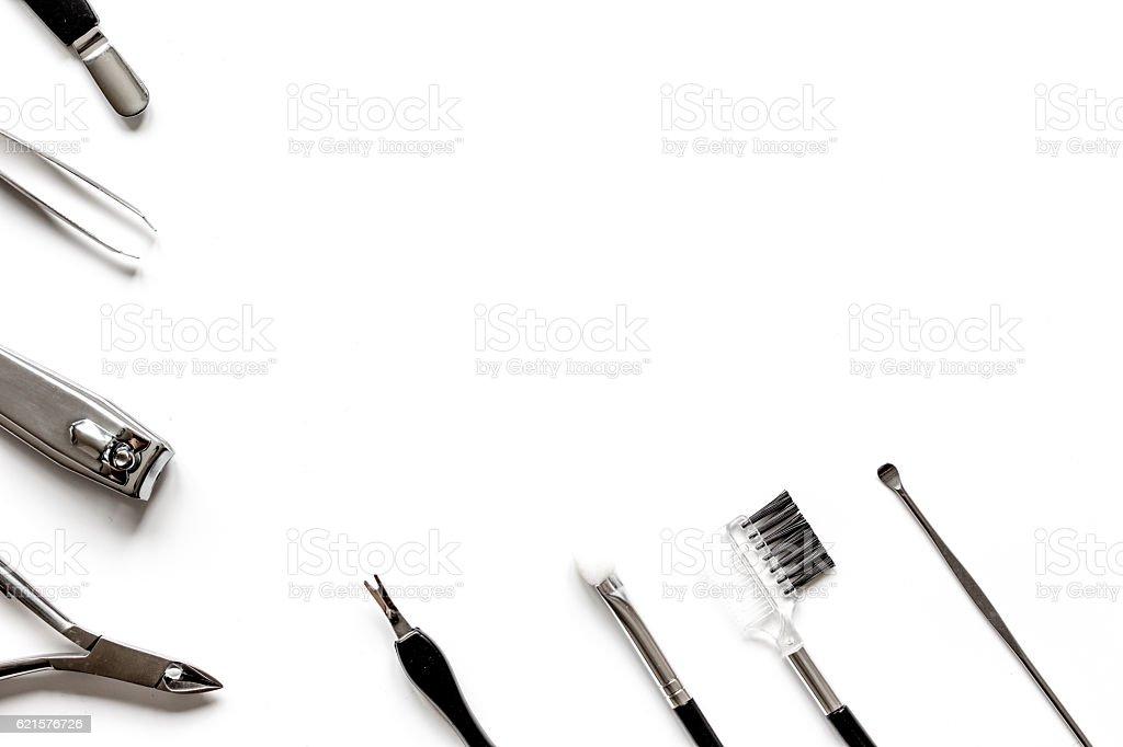 Tools of a manicure set on white background top view photo libre de droits
