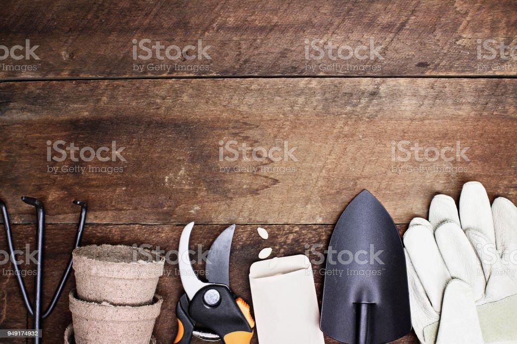 Tools of Gardening Background stock photo