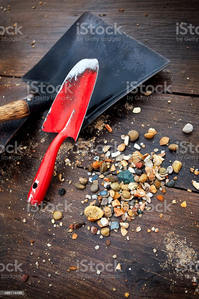 Tools of gold digger stock photo