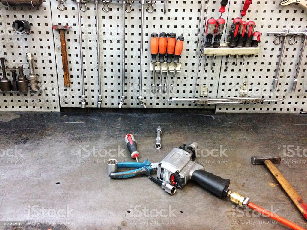 tools on a metal board stock photo