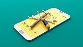Tools on a smartphone. 3d illustration