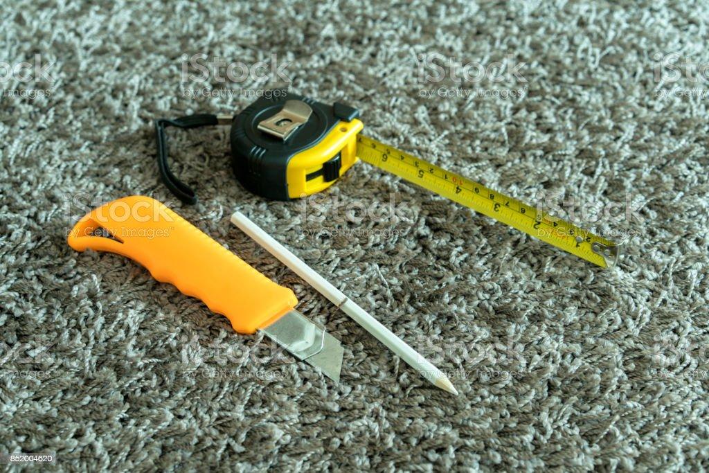 tools on carpet stock photo