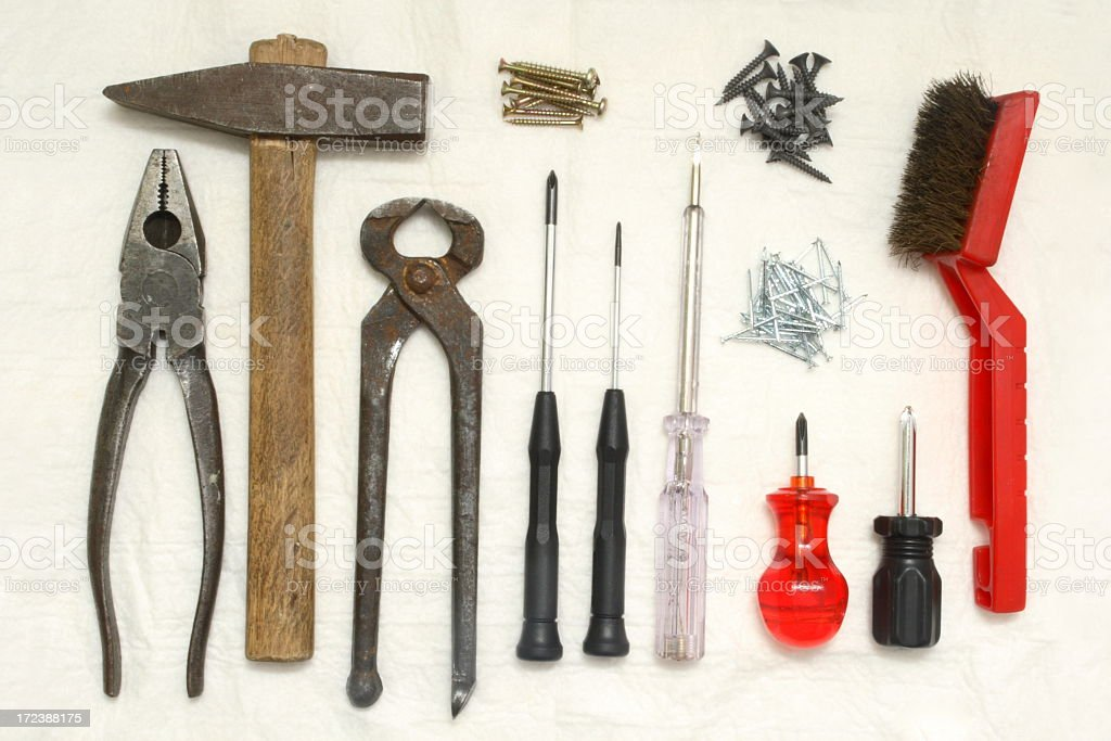Tools on Rug royalty-free stock photo