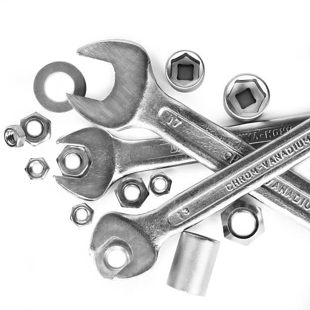 tools on white background stock photo