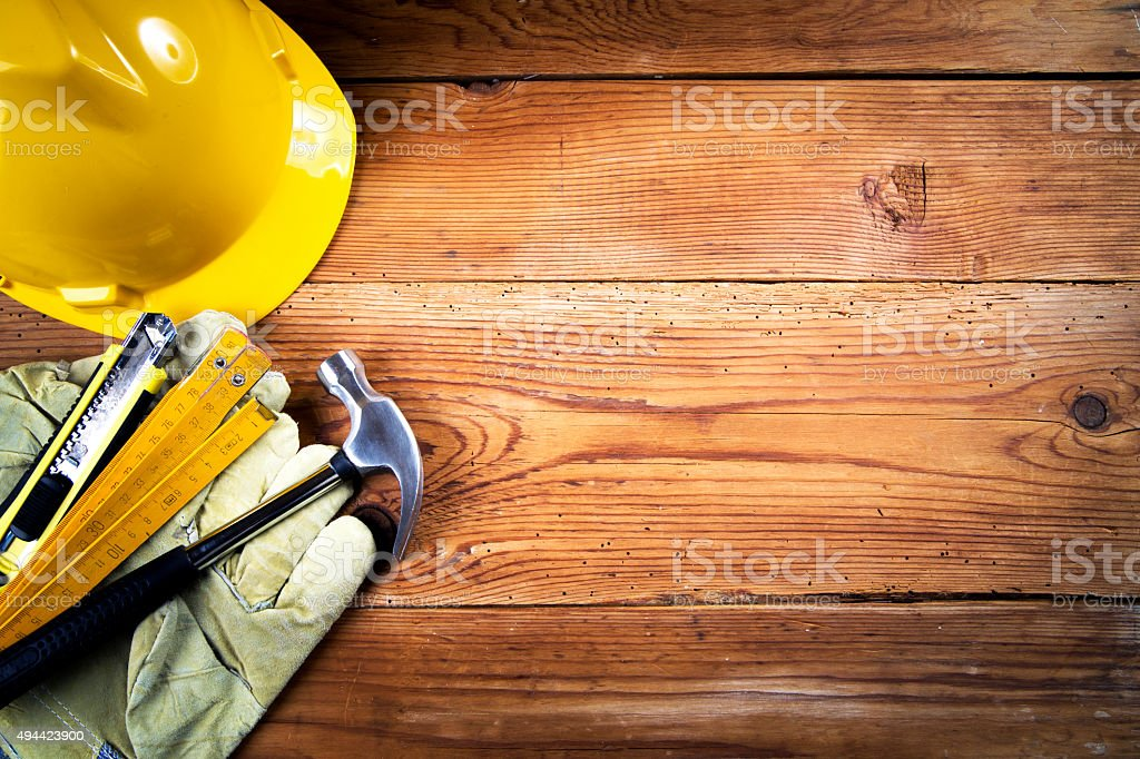 Tools  on wooden background stock photo
