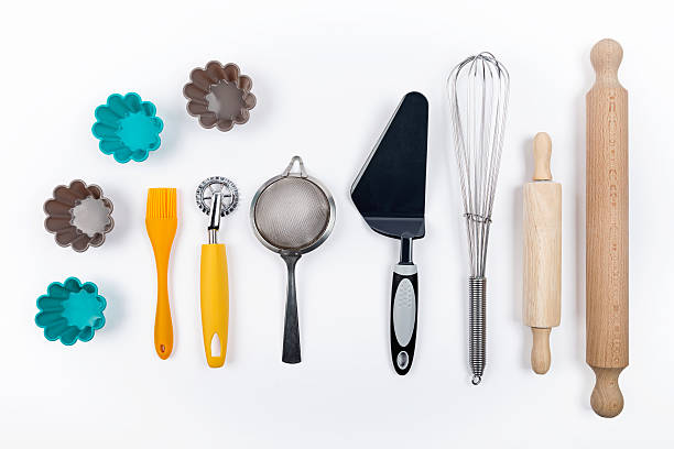Tools pastry on white background stock photo