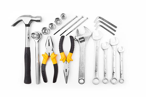 tools Different kinds of tools on white background socket wrench stock pictures, royalty-free photos & images