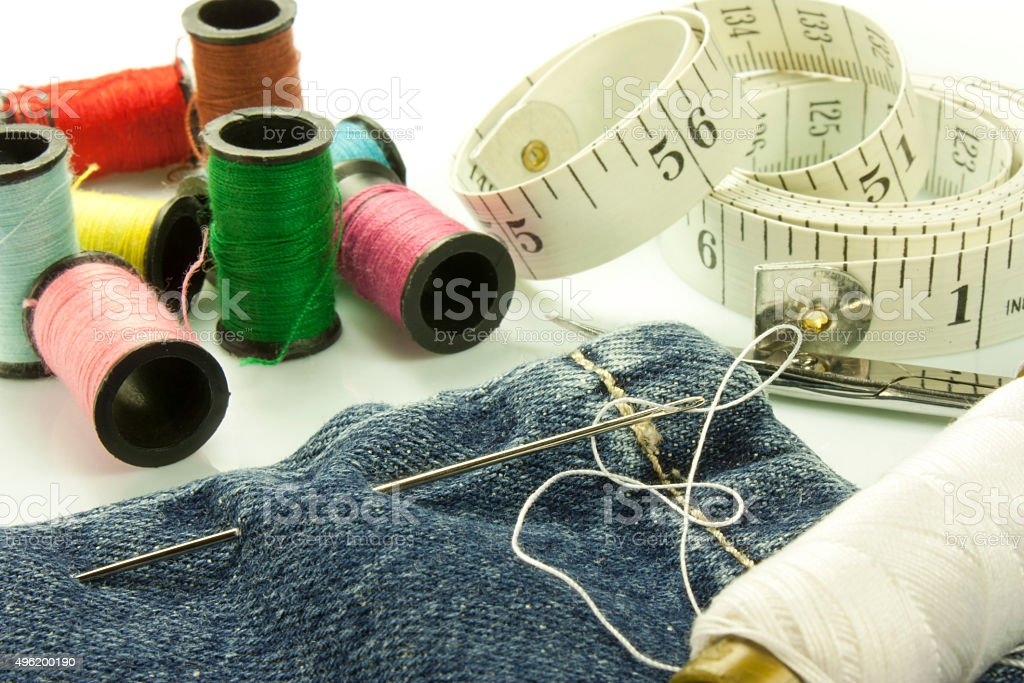 tools used for sewing stock photo