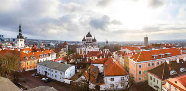 Toompea hill with Russian Orthodox Alexander Nevsky Cathedral, Niguliste church and Pikk Herman tower, panoramic view from the Dome church, Tallinn, Estonia stock photo