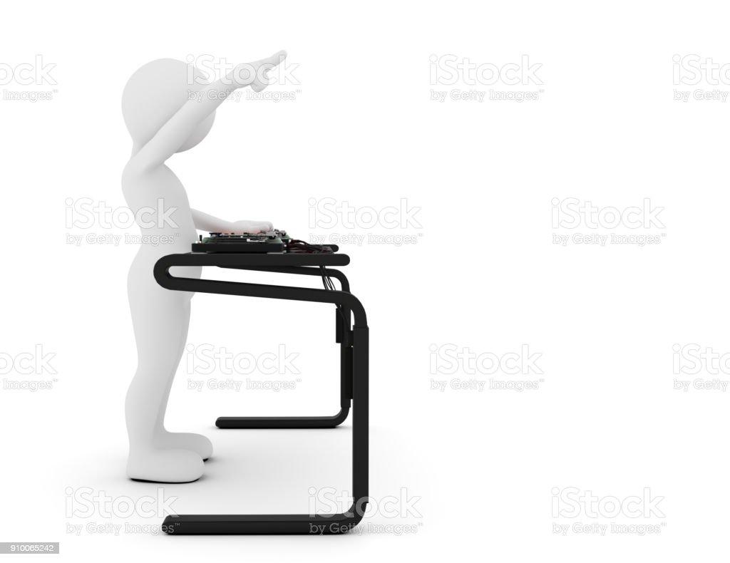 Toon man DJ spinning music on mixer. White background stock photo