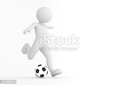 istock Toon man soccer player shooting on goal. Football concept. 910065240