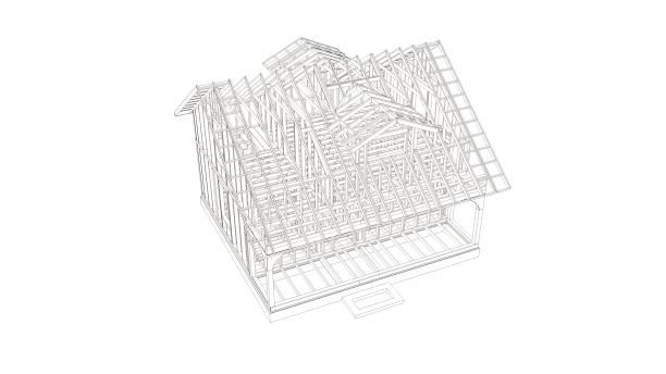 Toon Stil Bild von modernen Rahmenhaus. 3D-Illustration des modernen Hauses. – Foto