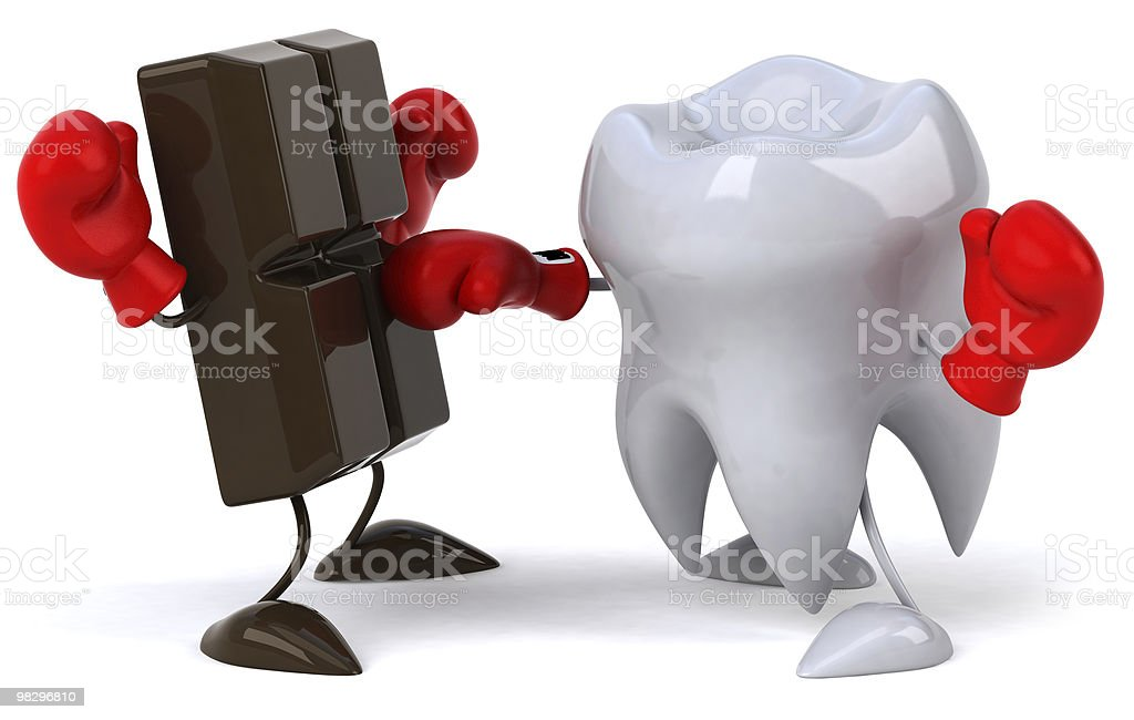 Tooth and chocolate boxing royalty-free stock photo