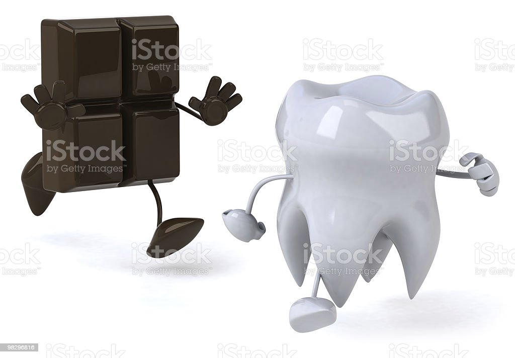 Tooth and chocolate royalty-free stock photo