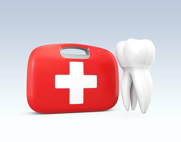 tooth and first aid kit - kazalar ve felaketler stok fotoğraflar ve resimler