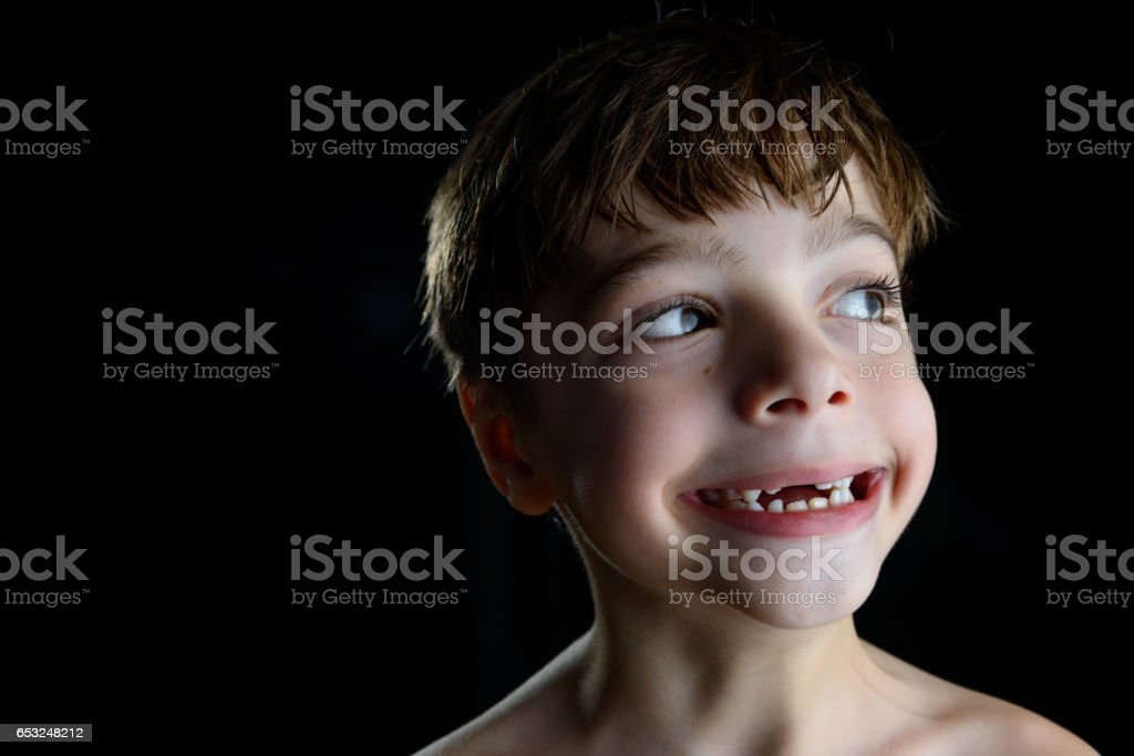 Tooth decay, baby tooth, kid fun smile stock photo