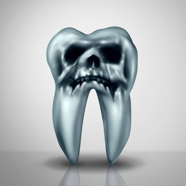 Tooth Decay Disease Danger Tooth decay disease danger as a cavity or cavities symbol showing the risk of tooth anatomy in decay due to bacteria and acids shaped as a death skull rotting as a 3D render. cusp stock pictures, royalty-free photos & images