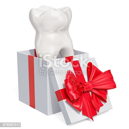 istock Tooth inside gift box, gift concept. 3D rendering isolated on white background 978562312