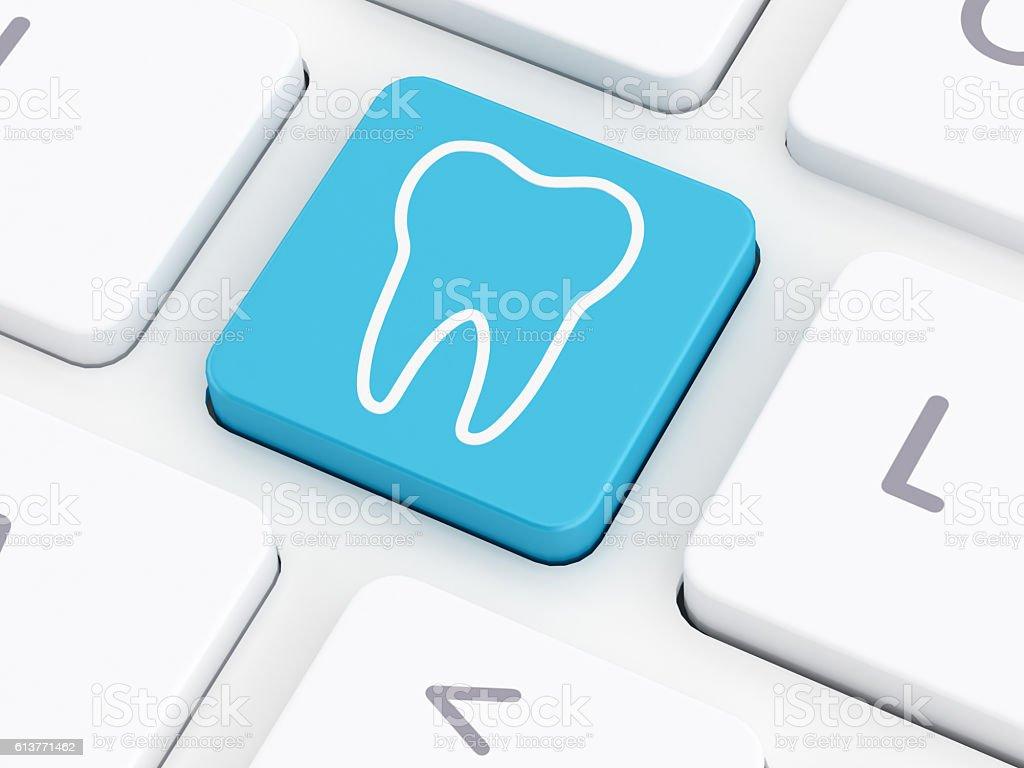 Tooth on computer keyboard key - foto de stock