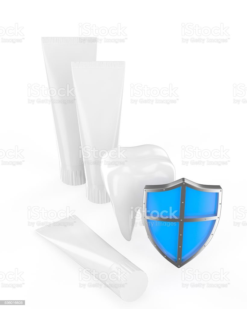 Tooth, shield, toothpaste stock photo