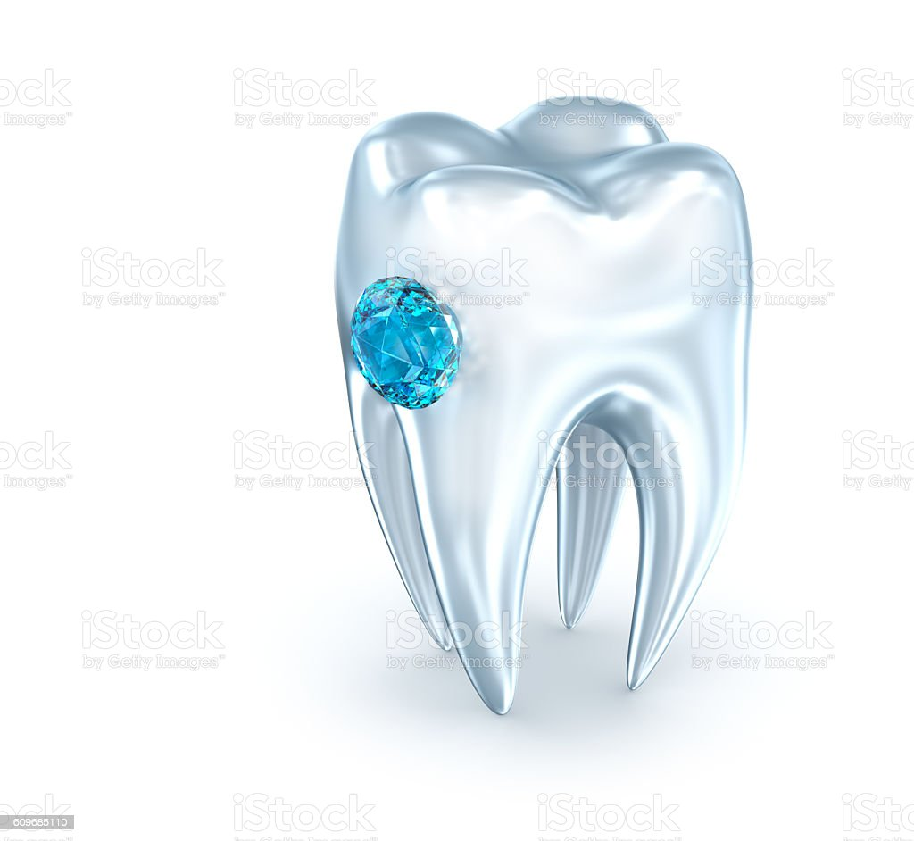 Tooth with blue diamond, over white . 3D illustration stock photo