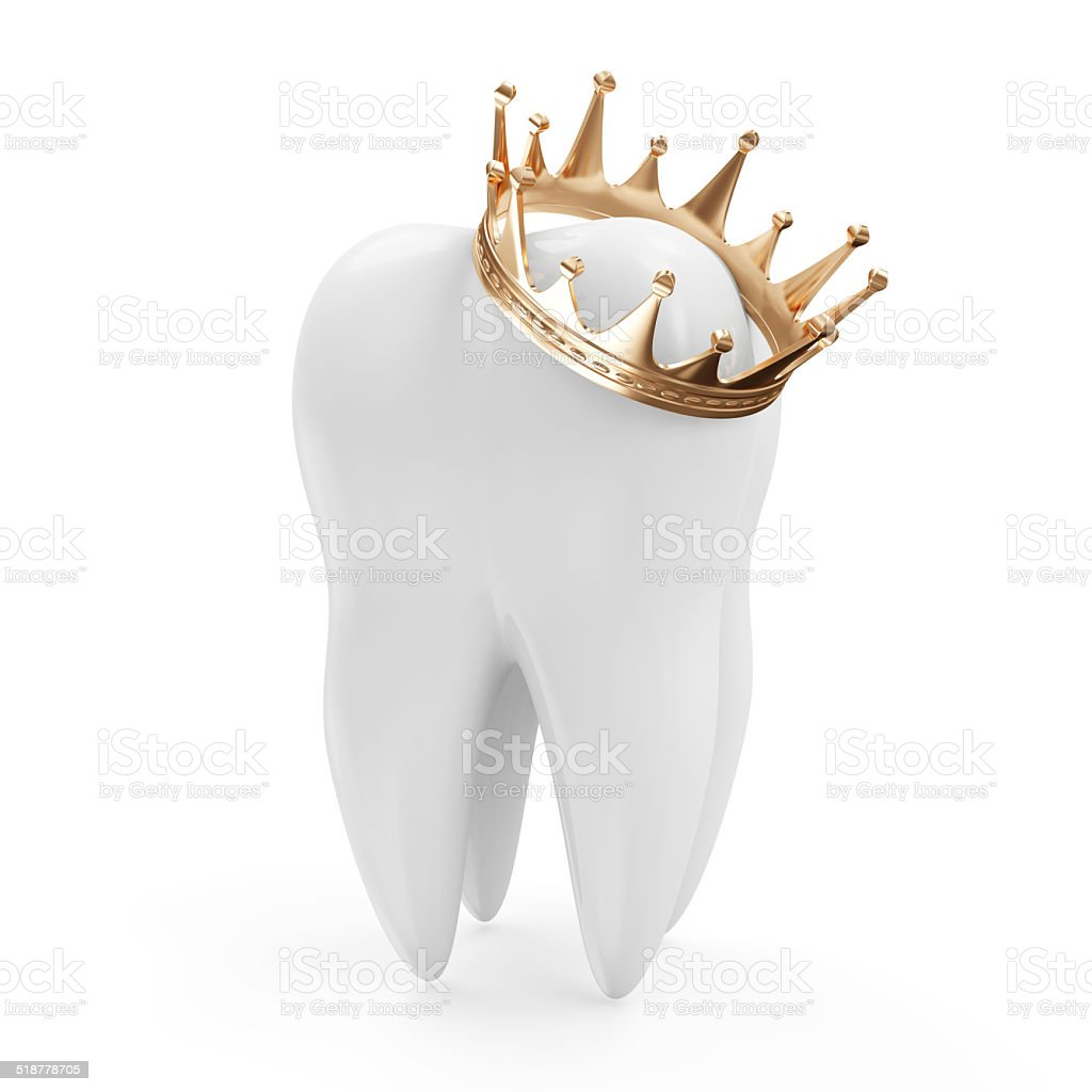 Tooth with Golden Crown isolated on white background stock photo