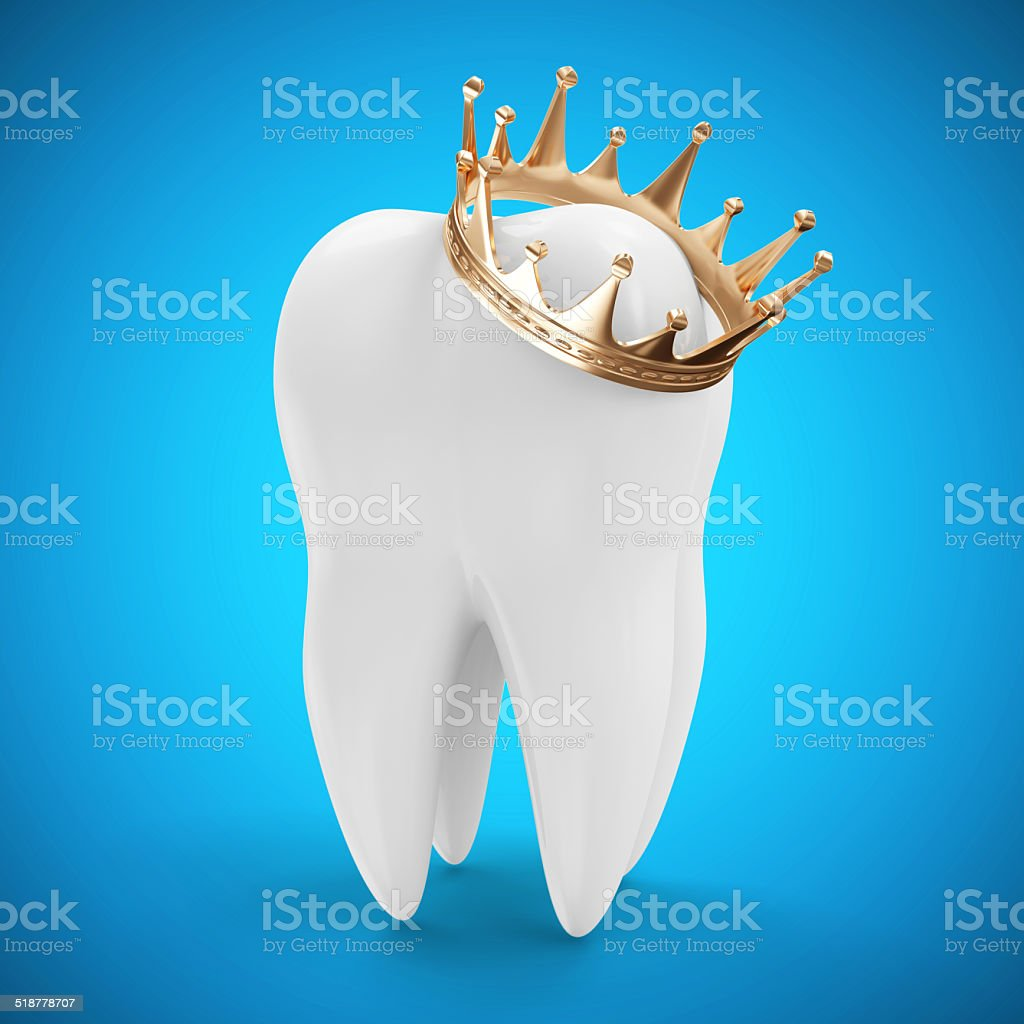 Tooth with Golden Crown on blue gradient background stock photo