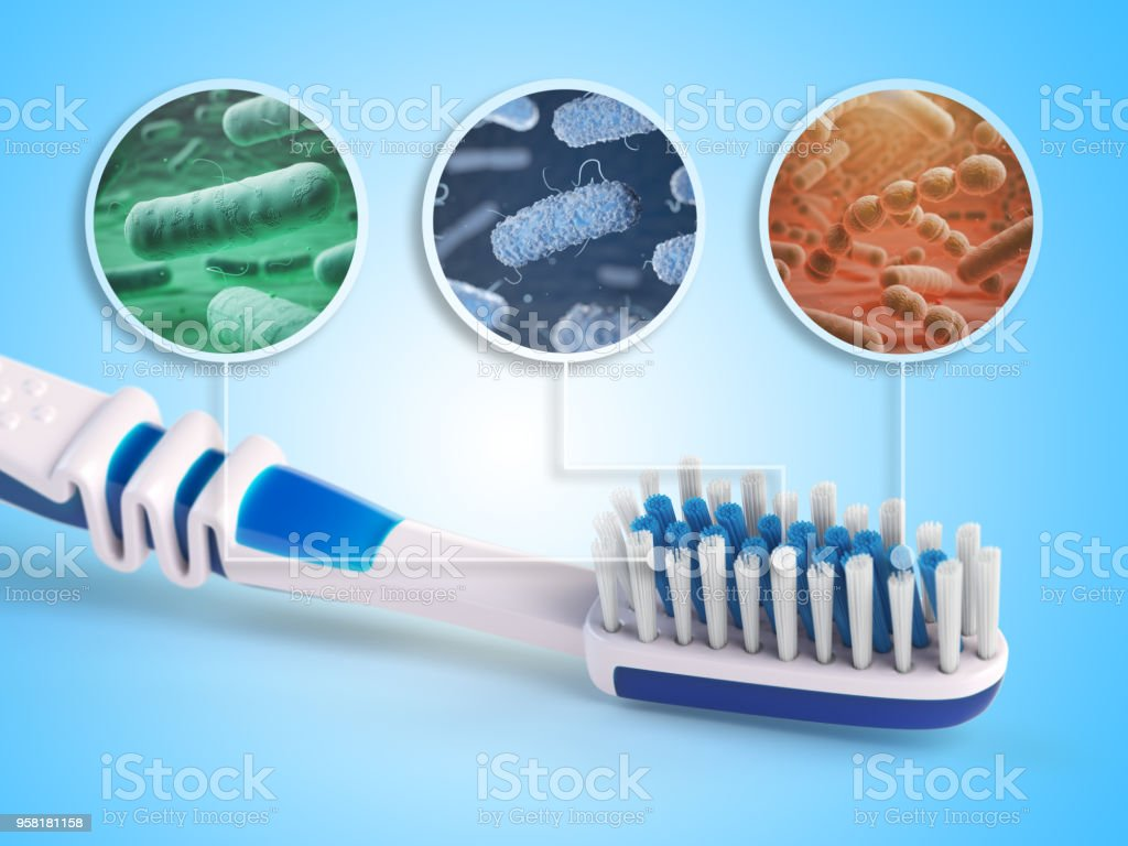 Toothbrush and bacterias. Dental concept. stock photo