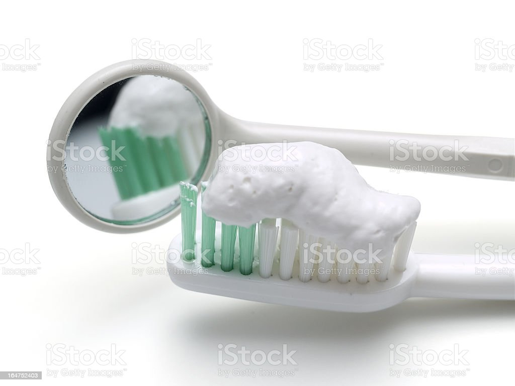 toothbrush and mirror royalty-free stock photo