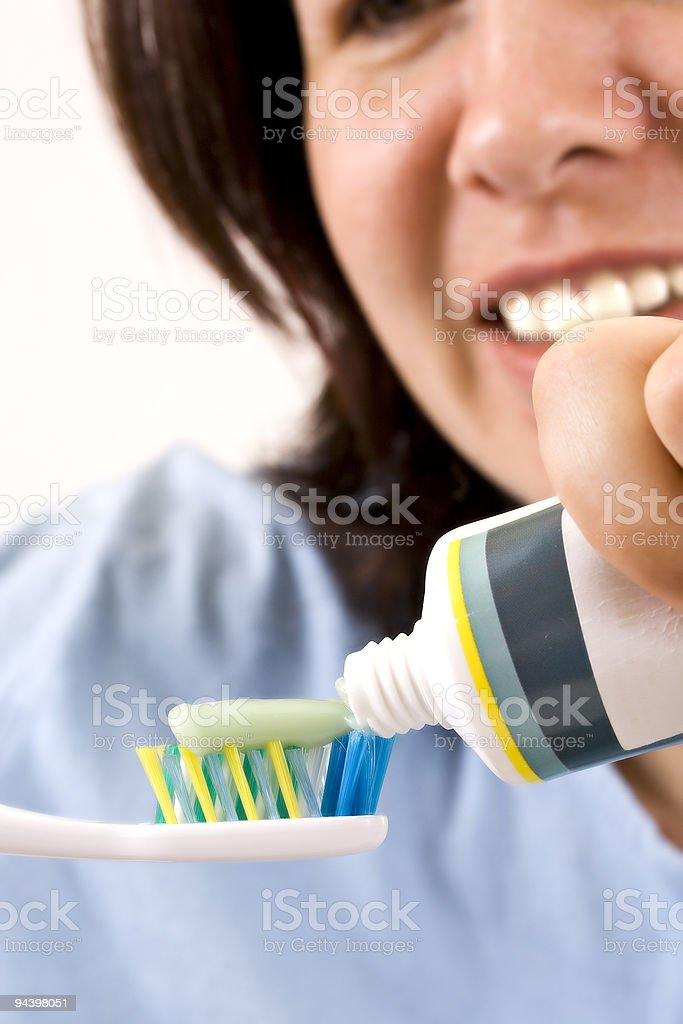 toothbrush and paste royalty-free stock photo