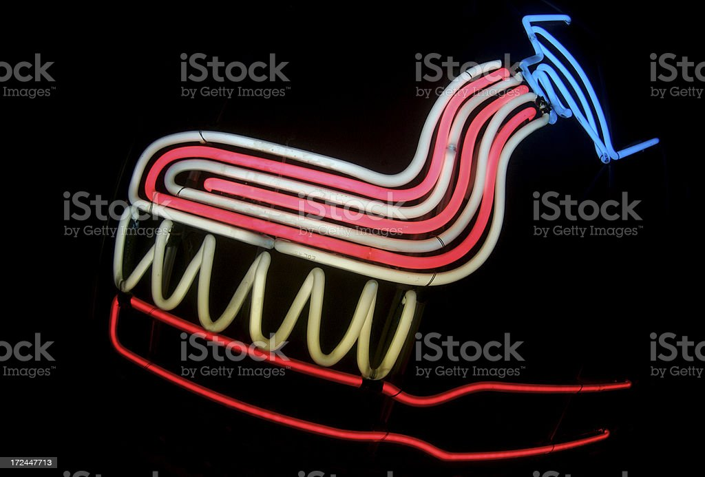 Toothbrush and Toothpaste in Neon royalty-free stock photo