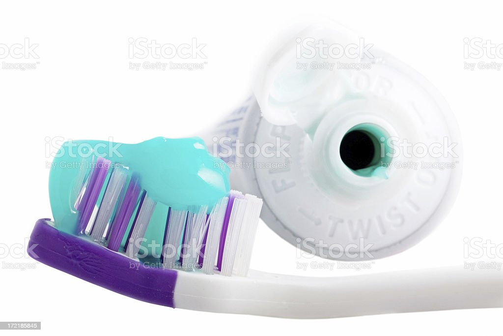Toothbrush and toothpaste  Isolated royalty-free stock photo