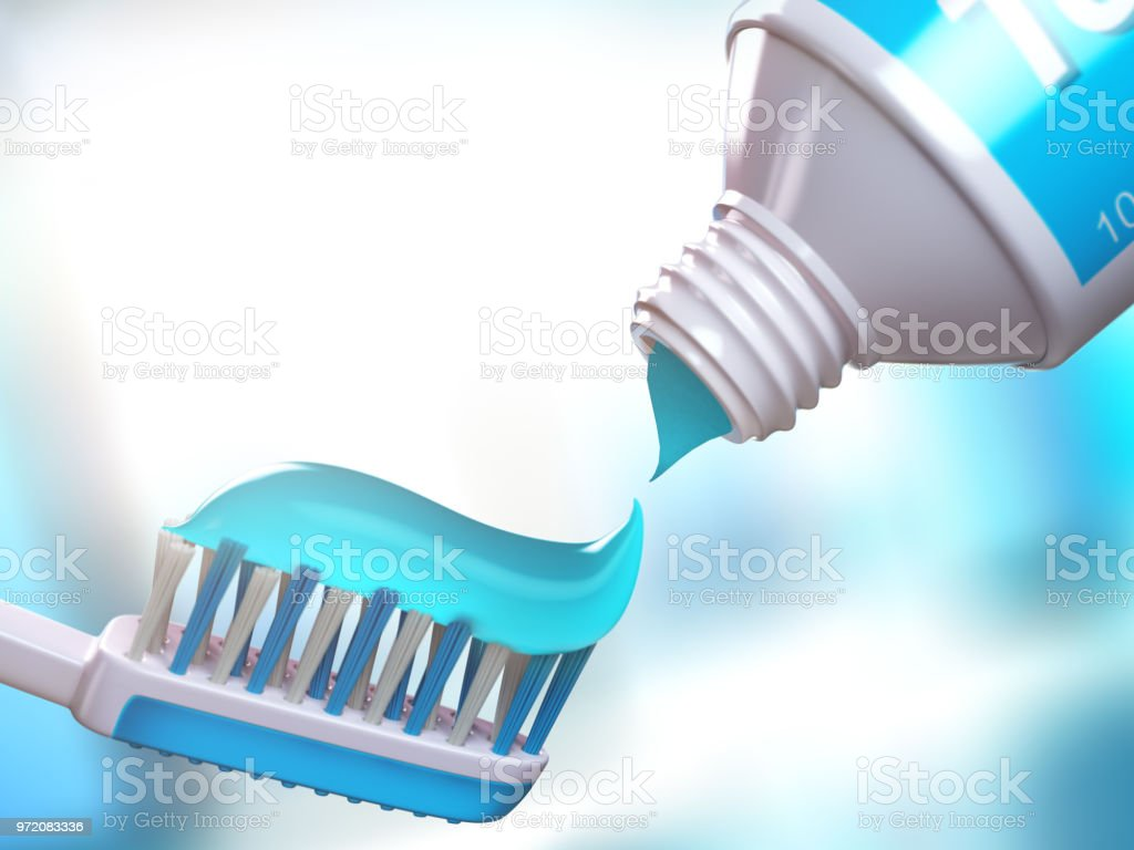 Toothbrush and tube of toothpaste. stock photo