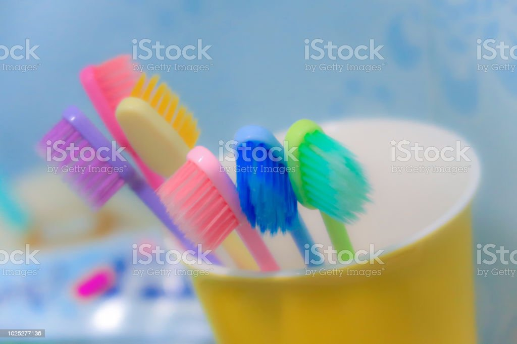 toothbrush in bathroon stock photo