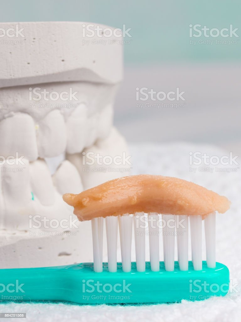 toothbrush with paste and dental gypsum royalty-free stock photo