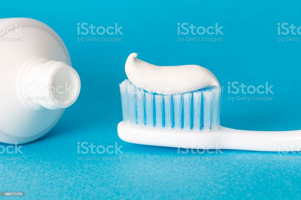 Toothbrushes and Toothpaste stock photo
