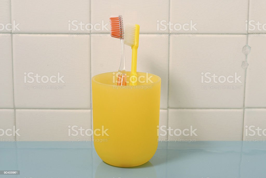 Toothbrushes in a Cup royalty-free stock photo
