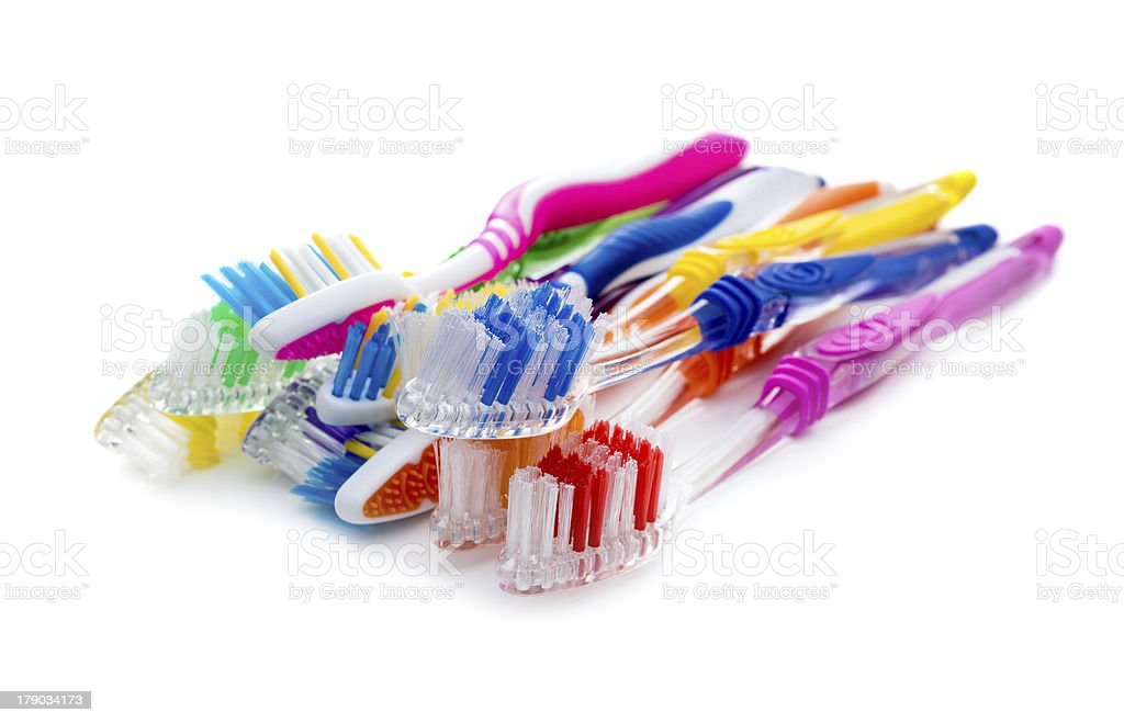 Toothbrushes on a white background royalty-free stock photo