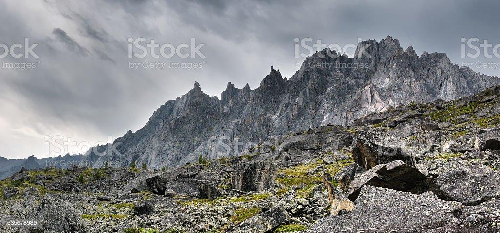 Toothed ridge mountains stock photo